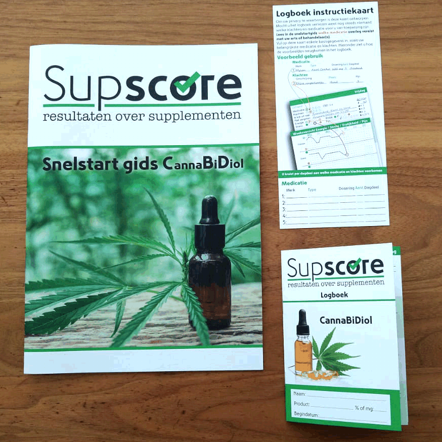 De Supscore methode voor Cannabidiol bestaat uit een Snelstart gids en een logboek.